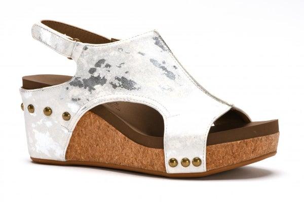 Corky's Carley Wedge in Metallic White