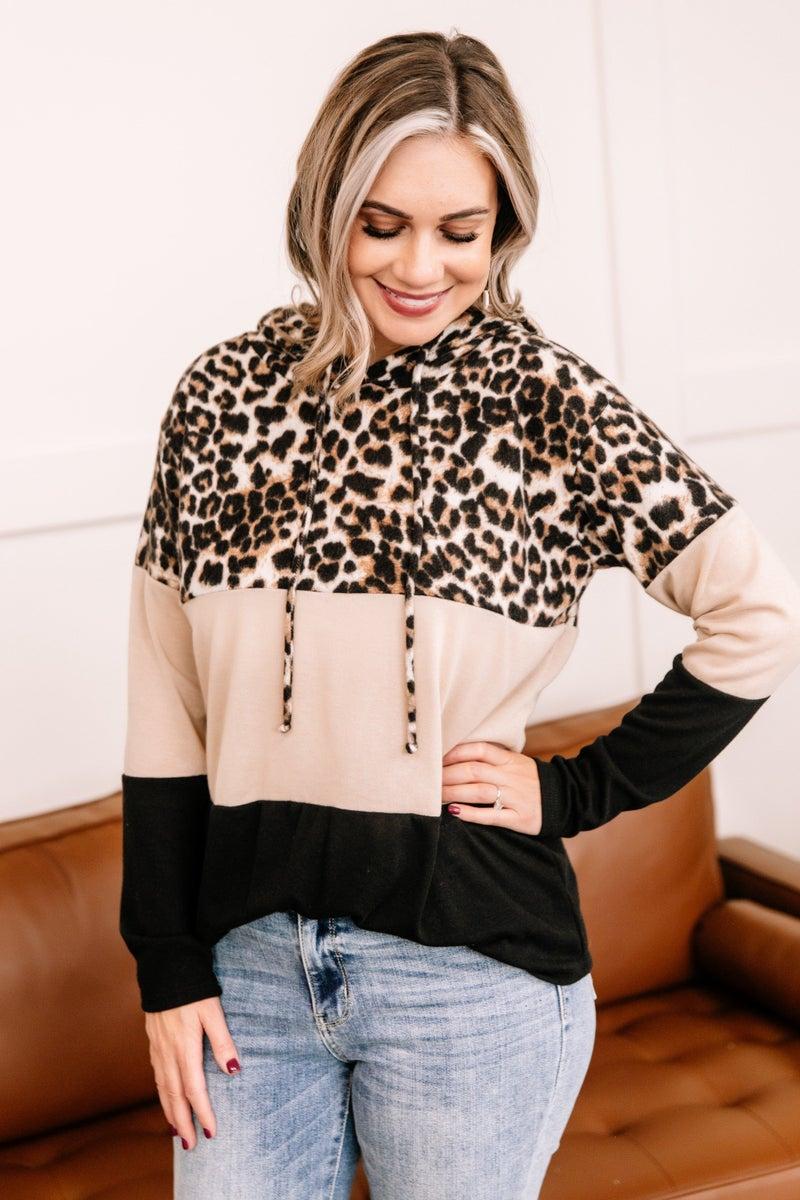 Jungle Love Leopard Color Block Hoodie