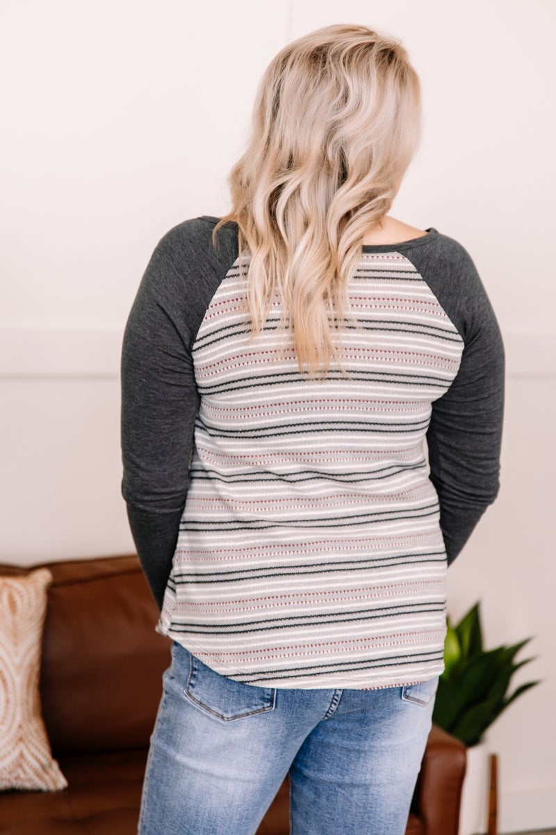 Let Me Go Holiday Striped Top