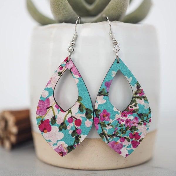 Cherry Blossom Teardrop Wooden Earrings