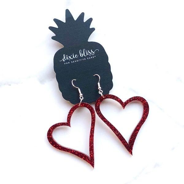 Asymmetrical Heart Outline Earrings