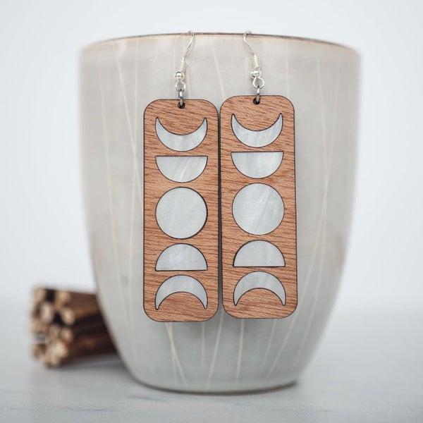 Moon Phase Wood & Acrylic Dangle Earrings