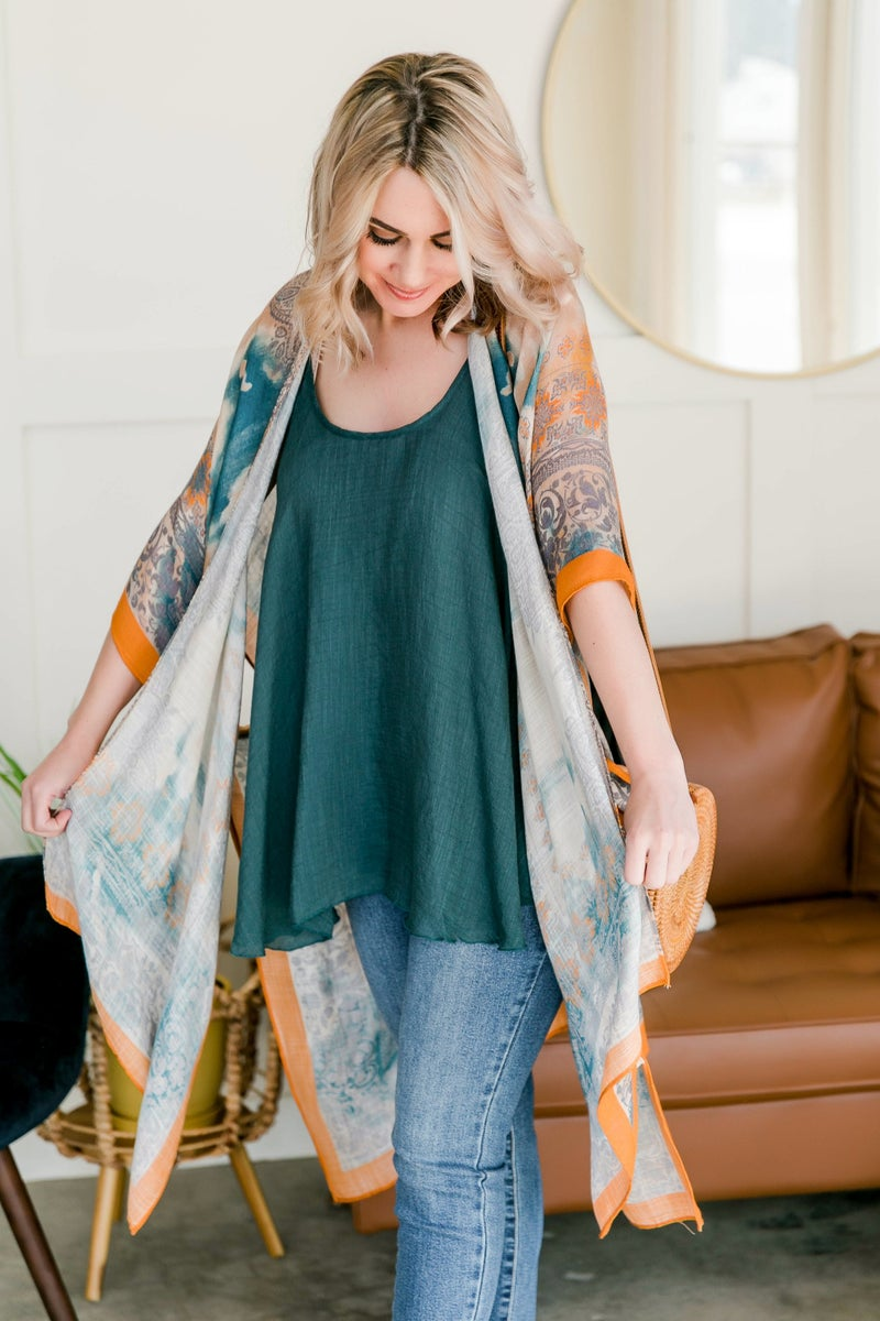 Carried Away Kimono In Ocean Wave
