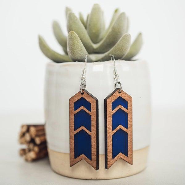 Cobalt Chevron Wood & Acrylic Dangle Earrings