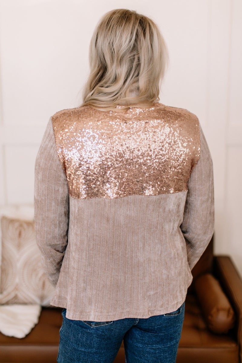 Shine You On Pullover In Rose Gold