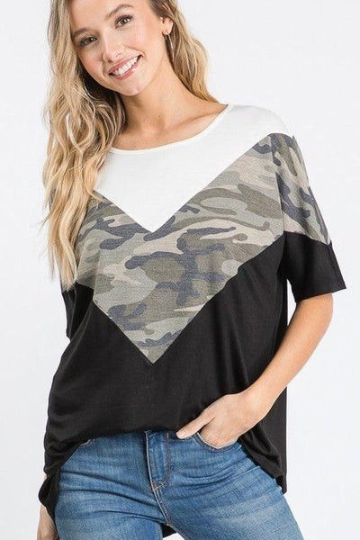 Point Me to the Camo Top