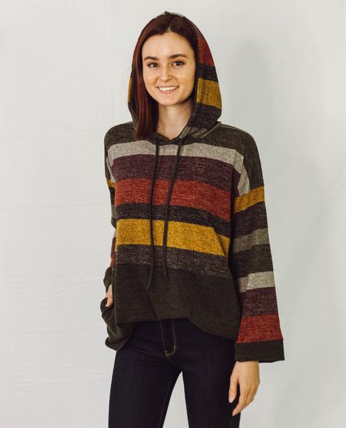 Retro Vibe Multicolor Stripe Hoodie