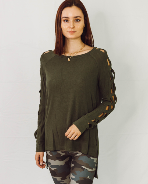 Olive Tied Up Long Sleeve Top