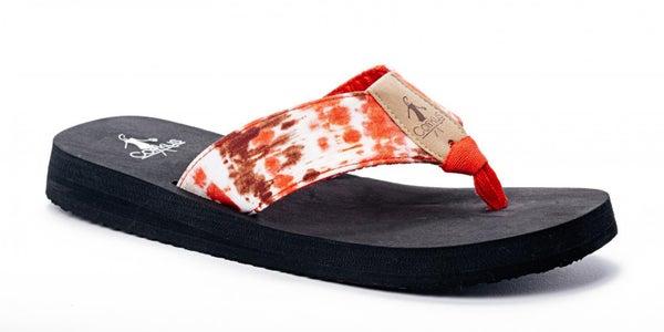 Corkys Bahama Mama Red Tie Dye Flip Flops