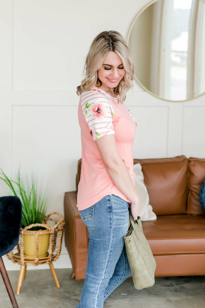 Here To Stay Blush Floral Raglan Sleeve Top