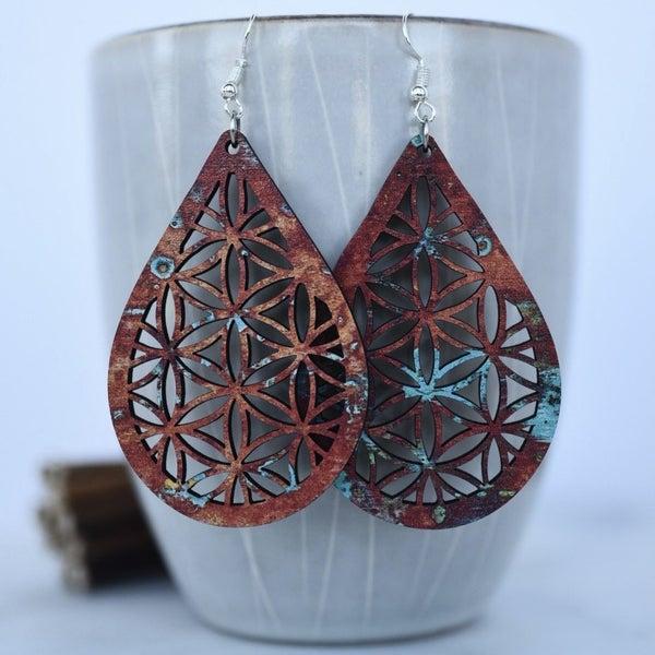 Copper Patina Wood Dangle Earrings