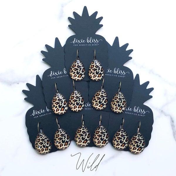 Wild Leopard Leverback Earrings