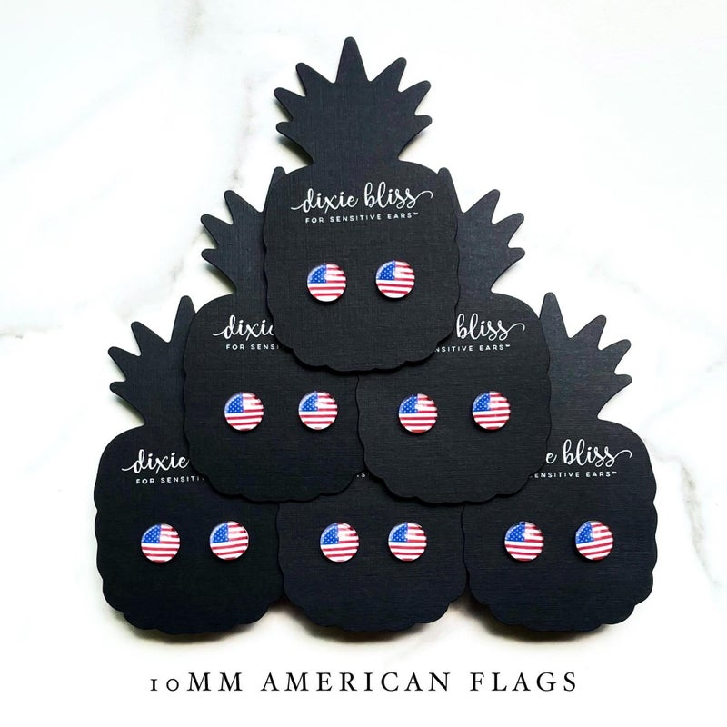 American Flag Photo Glass Earrings