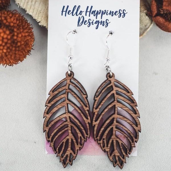 Leaf Cutout Wooden Dangle Earrings
