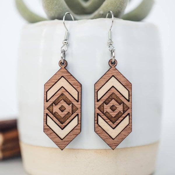 Aztec Chevron Two Tone Wooden Dangle Earrings
