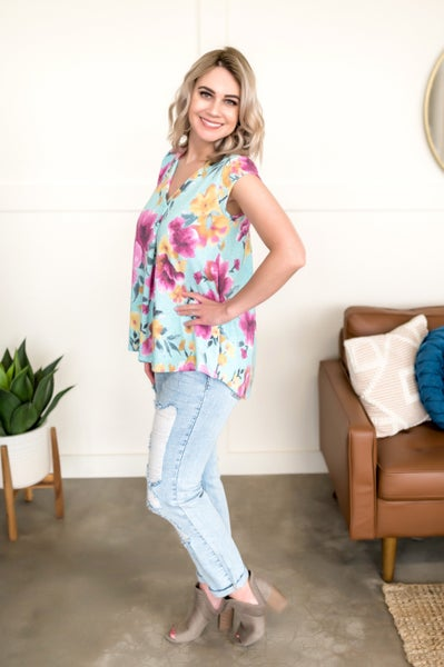 My Kaleidoscope Top In Mint Floral