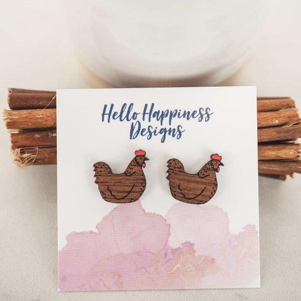 Chicken Wooden Stud Earrings