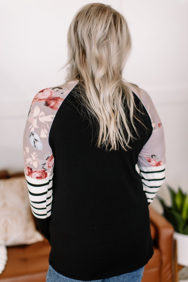 Set The Record Straight Floral & Stripe Sleeve Top