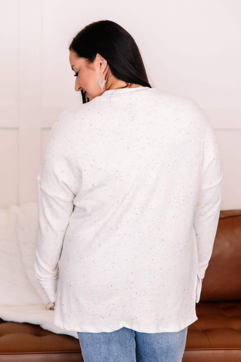 Playing To Win Confetti print Ivory Drop Shoulder Top