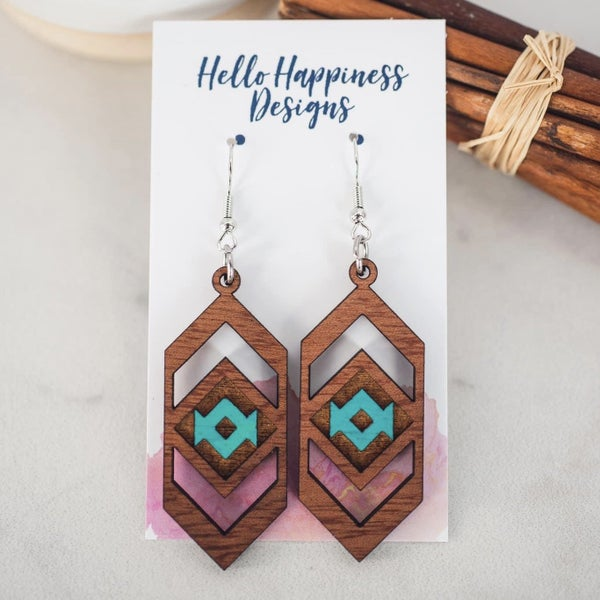 Teal Aztec Chevron Wooden Dangle Earrings