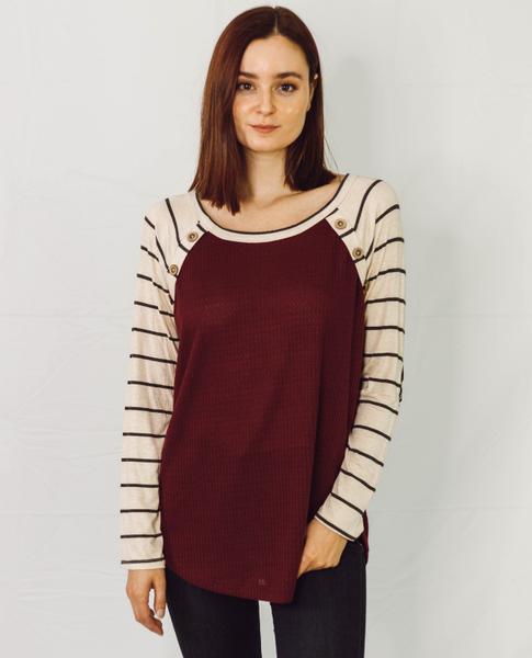 Burgundy Style Stripe Raglan Top