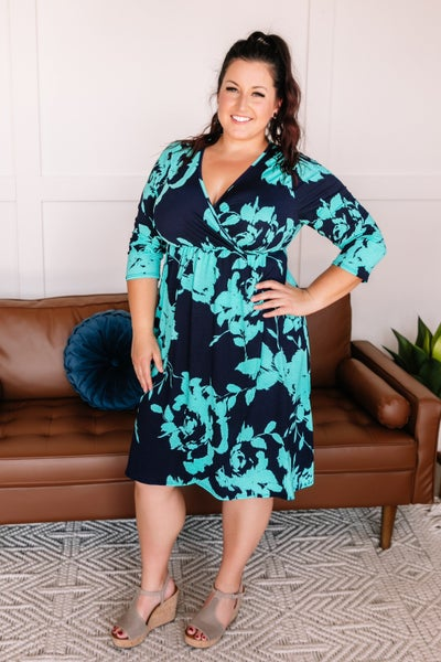 See What Happens Dress In Teal And Navy
