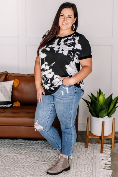 It's All Abstract To Me Black & Ivory Floral Tee