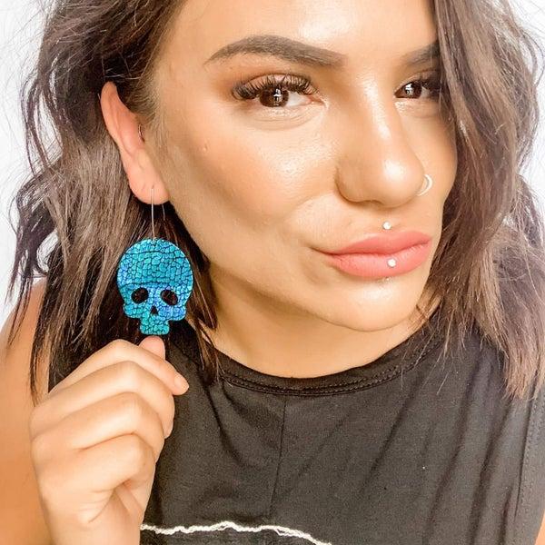 Golgotha in Teal Holo Croc Earrings