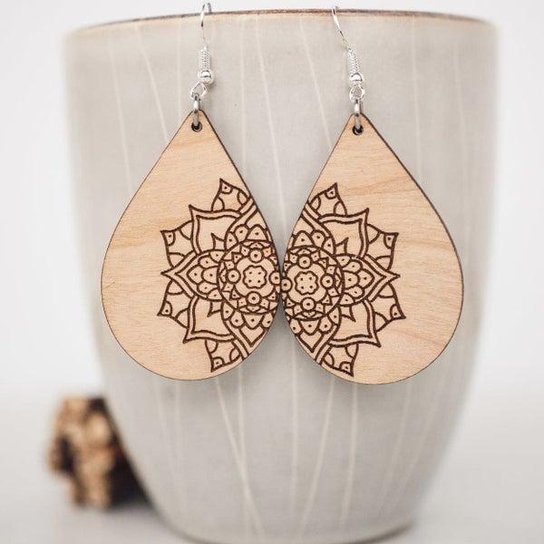 Off Center Wooden Mandala Dangle Earrings