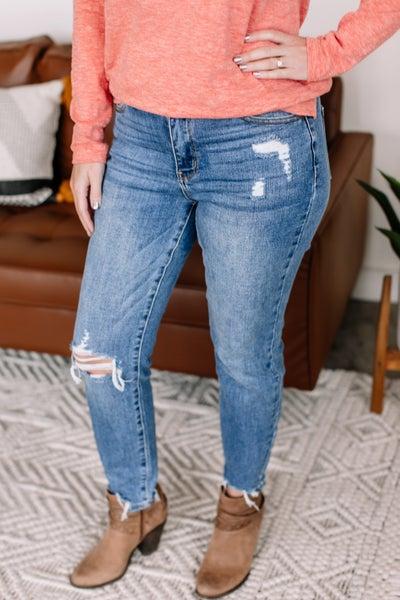 Once Bitten, Twice Shy Destructed Hem Judy Blue Jeans