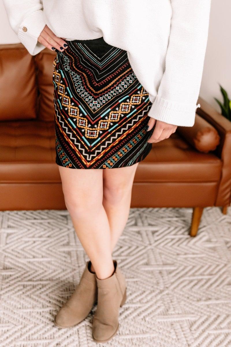 Big City Nights Embroidered Skirt