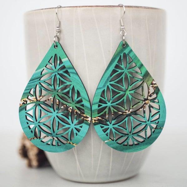 Jade Swirl Mandala Dangle Earrings