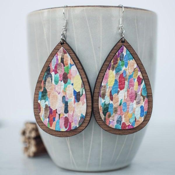 Confetti Leather & Wood Inlay Dangle Earrings