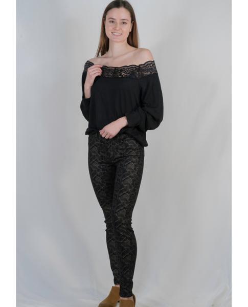 High Rise Reptile Print Skinny Jean