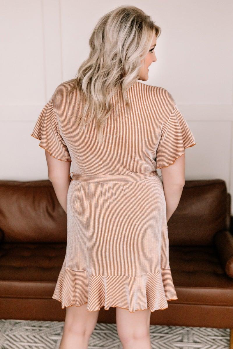 Curves Ahead Wrap Dress In Fall Stripes