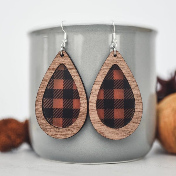 Buffalo Plaid & Wood Inset Teardrop Dangle Earrings