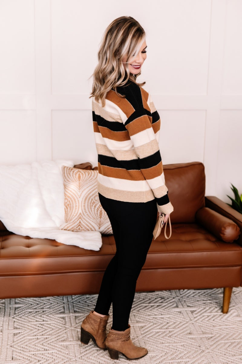 Storyteller Color Block Sweater In Coffee