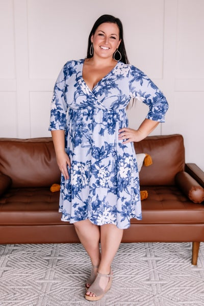Wrap Things Up Blue Floral Dress