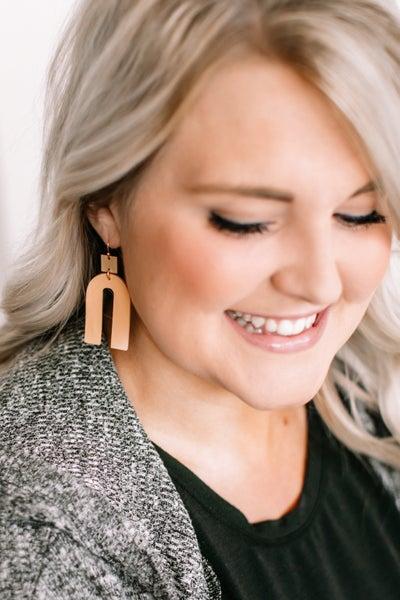 See The Pattern Light Brown Wood Geometric Earrings