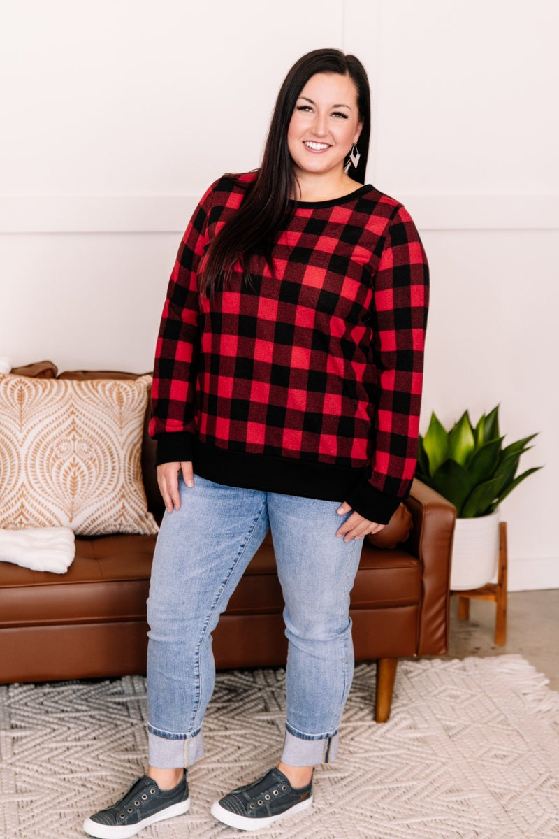 Buffaloed Again Red and Black Plaid Top