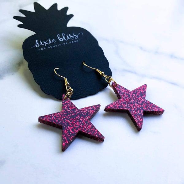 Ruby Glitter Star Earrings