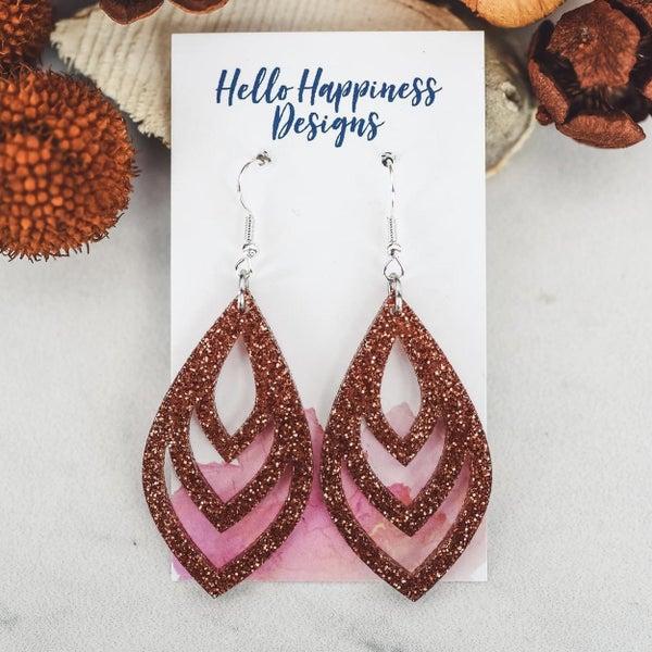 Pumpkin Spice Glitter Acrylic Dangle Earrings