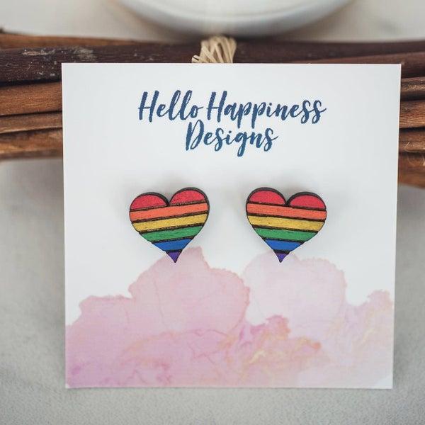 Rainbow Heart Wooden Stud Earrings