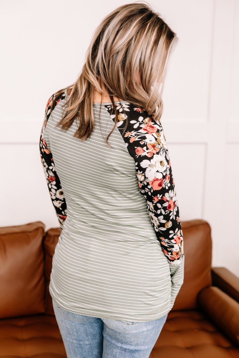 View From The Top Striped Floral Top