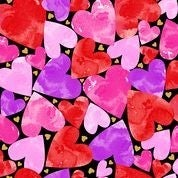 Sweethearts Packed Hearts Black Fabric