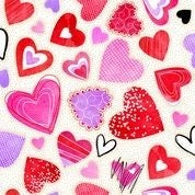 Sweethearts Large Hearts White Fabric