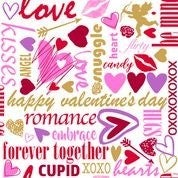Sweethearts Valentine Words Fabric