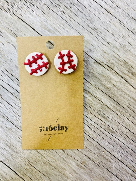 Baseball Stud Clay Earrings 03794
