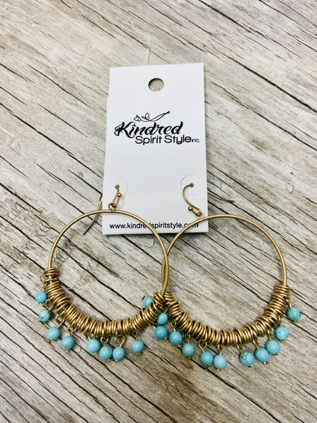 Gold/Turquoise Dangle Hoop Earring
