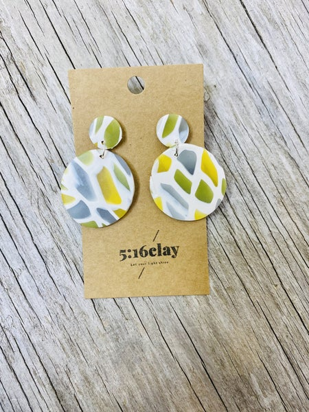 Stained Glass Big Dangle Clay Earrings 03808